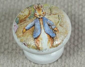 Boutons de Pierre lapin, pour tiroir ou une commode, bois de hêtre, 3,5 cm de diamètre