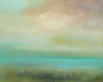 Whispering Marsh-  Muted Blush Aqua- gray green- 24 x 24 Stretched Canvas- 1-1/2 Inch Gallery Wrapped Painted Sides