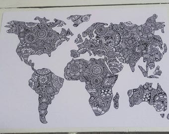 World Map A4 Print - Henna Mehndi Art - Fine Art Print - Mandala - Zentangle - Black and White