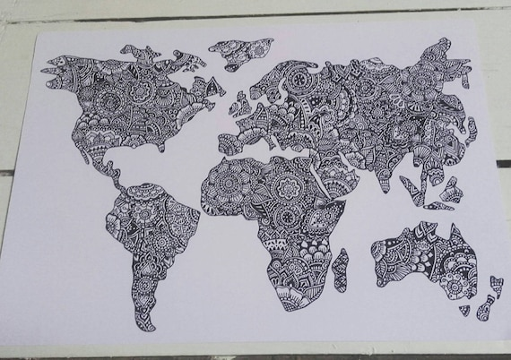 World map a4 print henna mehndi art fine art print gumiabroncs Choice Image