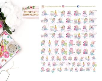 RAINBOW HAIR MERMAIDS - Set 2 - Mermaids, Mermaid Stickers, Stickers, Planner Stickers, Kawaii Stickers, Kawaii Mermaids, Laundry, Cleaning