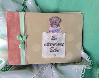 """Waiting for baby"" pregnancy scrapbook album Mint, pink and gray"