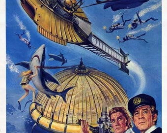 Captain Nemo and the Underwater City (1969) 11 x 17 movie poster Robert Ryan Chuck Connors fantasy film Nanette Newman Manta ray submarine