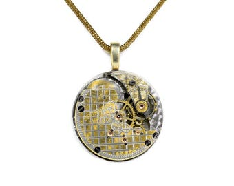 Steampunk Jewelry Necklace Vintage EDGEMERE Two Tone Gold and Silver Guilloche Etched Pocket Watch Holiday Gift Men Women - by edmdesigns