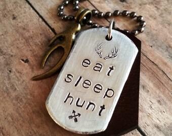 MEN'S Hunting Pendant Necklace > #DogTag #HandStamped #EatSleepHunt #Hunting #Antlers #OutdoorLife #GiftForDad #BowAnd Arrow #Camping