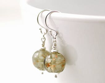 Grey and Gold Vintage Glass Sterling Silver Earrings | Vintage Beads | 1950s Vintage Glass