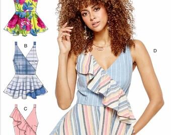 Sewing Pattern Mock Wrap Top Pattern, Peplum Top Pattern, Close Fit Top Pattern, McCall's Sewing Pattern 7602