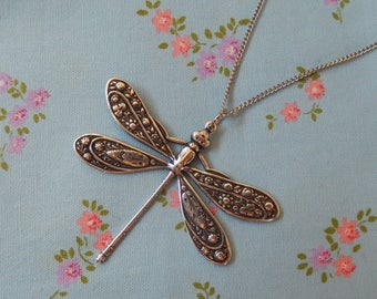 Antique Plated Dragonfly Pendant Necklace