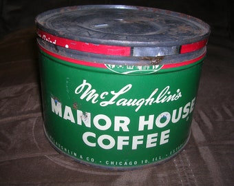 Vintage McLaughlin's Manor House Coffee Chicago Illinois Can Tin