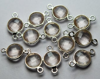 925 Sterling Silver,Natural Rose Quartz Faceted Connector,5 Piece of 15mm