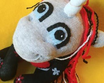 "Siofra - 11.5"" Sock Unicorn Plush - Handmade Plush Doll"