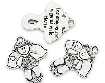 4 charms silver little girl Angel