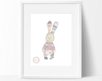 Basket of Flowers Bunny Wall Print_0034WP