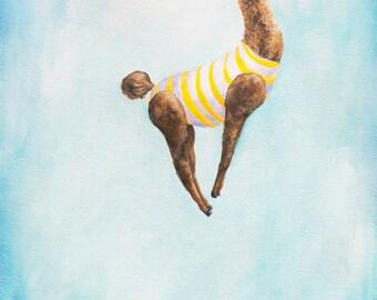 "Giclée Art Print ""Dive Practice"" Llama (New Size), Whimsical Art, Whimsy, Wall Art, Home Decor"