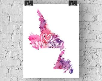 I Heart Newfoundland Map Art Print, I Love Newfoundland Watercolour Home Decor Map Painting, NL Giclee Canada Art, Housewarming, Moving Gift