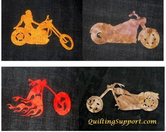 Motorcycle Quilt Applique Pattern Design (Set 1)