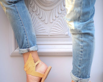 Wing Sandals, Ancient Greek Sandals, Tan Sandals, flats, womens shoes, Sandals with Wings,full leather sandals, Greek Mythology, San