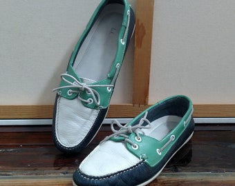 Ladies 7.5 M L.L. BEAN Leather Moccasin Boat Shoes..Green / White / Navy Blue..Vintage 1990's
