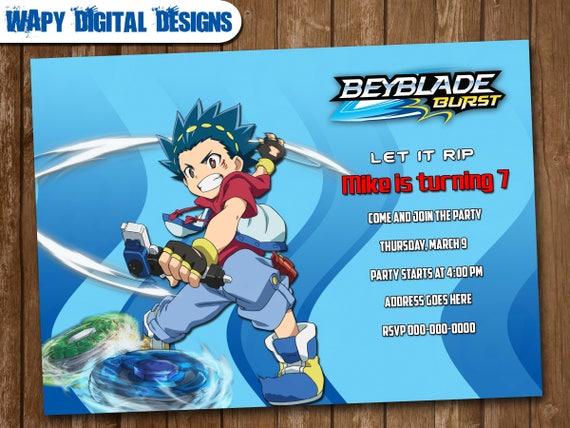 Beyblade Model 4 Digital Party invitation customize invite