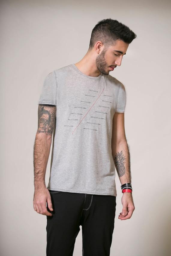 shirt Handmade fashion Unique top Man tank Top mans Men's Gray Mens Mens Mens clothing man shirt clothing shirt shirt T gray Design RUTqSZnp