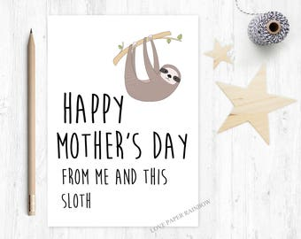 sloth mother's day card, funny mother's day card, happy mother's day, animal mother's day card, zoo mother's day card