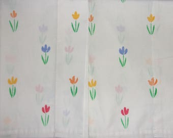 Pair of Vintage Floral Pillowcases Tulips