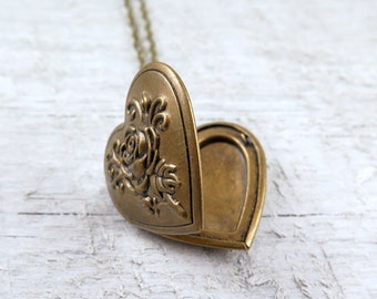Mothers Day Heart Necklace, Heart Locket Necklace, Heart Pendant, Photo Locket, Bridesmaid Necklace
