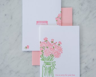 I am sorry for your loss, bouquet sympathy card