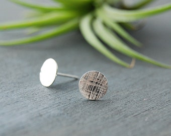 Sterling Silver Cross Hatched Earrings, Silver Circle Earrings, Textured Circle Earrings, Small Circle Studs,