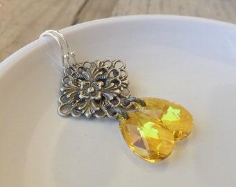 Sunshine and lace, Swarovski crystal filigree earrings, yellow earrings, chandelier earrings, antique silver earrings, summer jewelry