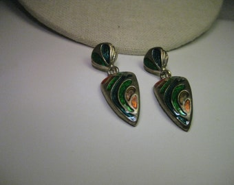 "Vintage Silver Tone Enameled Stud & Dangle Pierced Earrings - 1980's,  2"" long"