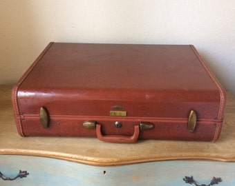 Large Vintage Samsonite Men's Hard Top Suitcase,  Faux Leather, Plaid Interior 1950s Suitcase, Photo Prop, Vintage Luggage