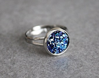 Blue Druzy Ring, Navy Blue Ring, Dark Blue Ring, Faux Druzy Ring, Adjustable Ring, Gift for Her, Gifts for Girlfriend, Statement Ring