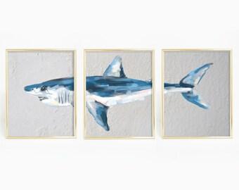 Shark Print, Mako Art Print, Mako Shark, Shark Printable, Shark Art Print, Wall Printables, Sea Life Print, Sea Creatures, Ocean Print,