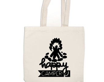 Happy Camper Camping Funny Canvas Tote Bag Market Pouch Grocery Reusable Recycle Go Green Eco Friendly Jenuine Crafts