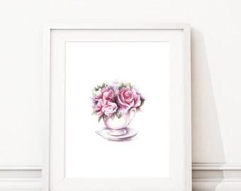 Watercolor flowers print, Nursery, Wall art, Glam decor, Glam prints, Fashion print, Trendy wall art, Wall prints, Watercolor prints. S465