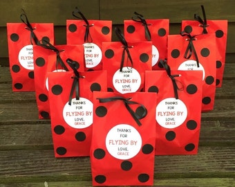 Personalized Ladybug Birthday Party Favor Bags, Ladybug Treat Bags, Ladybug Goody Bags, Ladybug Baby Shower Bags, Ladybug Party Supplies