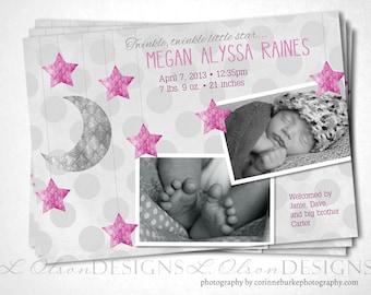 Little Star Baby Announcement - Pink - DIY Printable