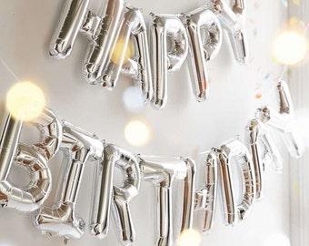 Ballons Hélium HAPPY BIRTHDAY ARGENT taille 40 cm fête anniversaire enfant décoration fun surprise