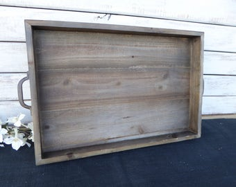 Reclaimed Weathered Wood Tray with Rustic Metal Handles - Rustic Wedding - Barn Wood Serving Candle Box ~ Centerpiece Home Display