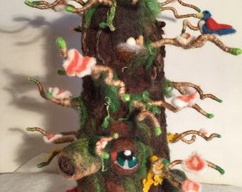 Needle felted tree, spring felted, spring tree, Waldorf tree, wool tree, tree ornament, tree sculpture, nature table, magical forest