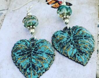 Vintage patina earrings, vintage earrings, Crystal earrings, nature inspired, dangle earrings, leaf earrings