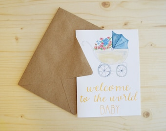 Baby Card- New Baby Card- Welcome Baby Card- Congratulations Card- Baby Pram Card