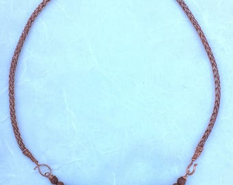 Metal Focal Tube Bead on Viking Knit Chain