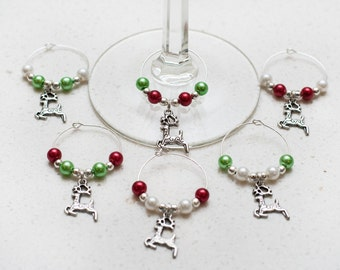 Reindeer Wine Charms, Set of 6, Holiday Gift