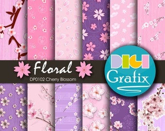 SALE Cherry Blossom Digital Paper, Cherry Blossom Digital Paper, Printable Paper, Cherry Blossom Birthday Party, Cherry Blossom papers