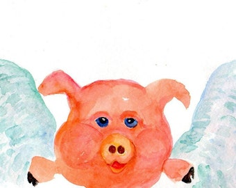 Flying Pig original watercolor painting, Small Flying Pig artwork, watercolors paintings original, pigs with wings