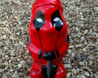 DEADPOOL Superhero custom unique hand painted garden gnome