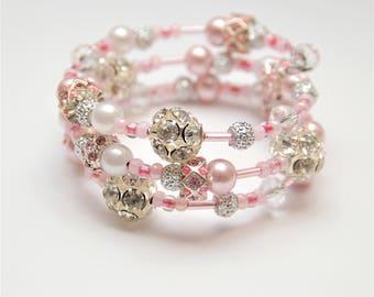 Memory Wire Bracelet, Pearl Bracelet, Bead Bracelet, Swarovski Crystal Bracelet, Valentine's Day Gift, Birthday Gift