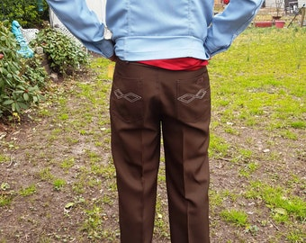 Mens Pants, Western Pant, Vintage Pants, 80s Pants, Brown Pants, Scandia Woods, Blair, Vintage Costume, 80s Costume, Pants Waist 34
